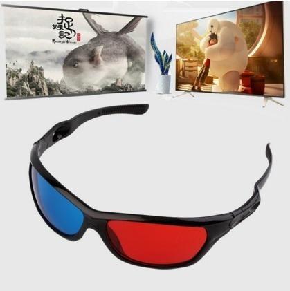 Óculos 3d Lentes Azul/vermelha Anaglífico Em Plástico Preto!