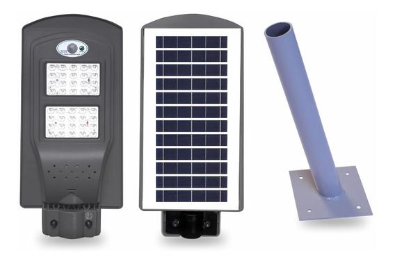 Luminária Pública Led Solar Com Bateria 12h + Suporte