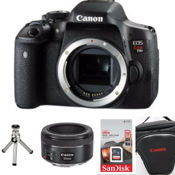 Câmera Canon T6i (corpo) + 50mm 1.8 Stm + 32gb+bolsa+tripé
