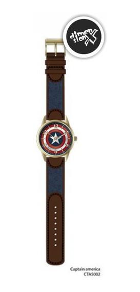 Reloj Capitan America Gold Accutime Original Marvel