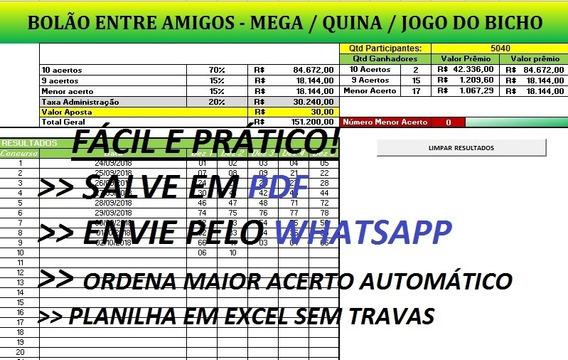 Bolão Jogo Do Bicho - Mega Sena - Quina - Planilha Em Excel