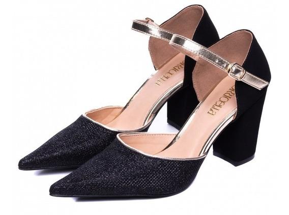 Sapato Feminino Scarpin Bico Fino Nobuck Luxo Torricella