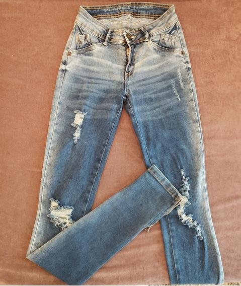 Calça Jeans Skinny Destroyed Planet Girls