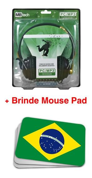 Fone Ouvido Isolamento Acústico Microfone Pc Brinde Mousepad