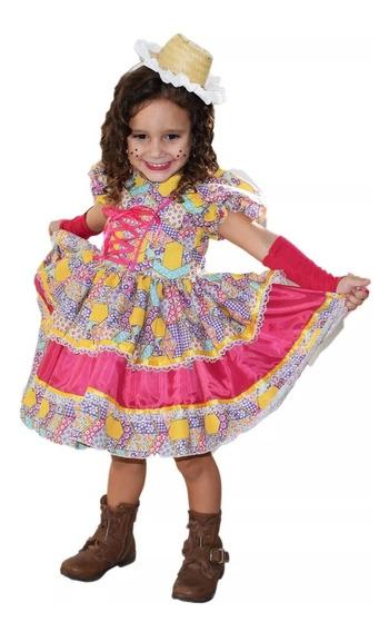 Vestido De Festa Junina Caipira Infantil E Luva Fita Cabelo