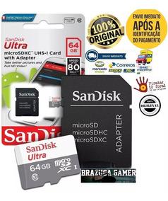 Micro Sd 64gb Ultra 80mbs Classe10 Sandisk Original Lacrado