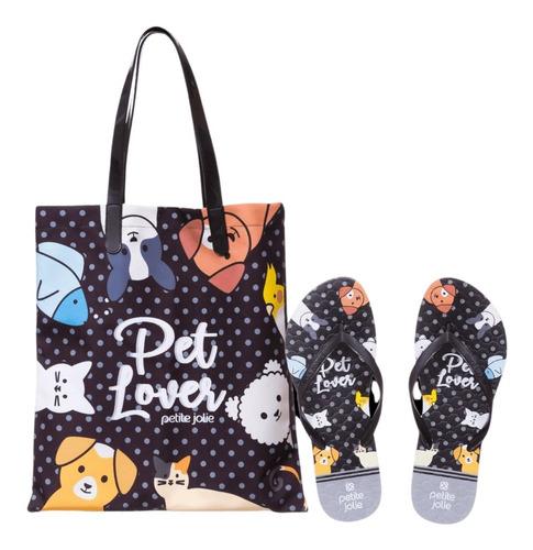Imagem 1 de 4 de Kit De Bolsa E Chinelo Petite Jolie Amantes De Pets Pj10256