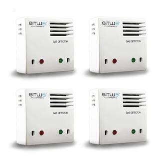 4 Piezas: Detector De Gas Lp, Natural, Humo Y Co Bitwo