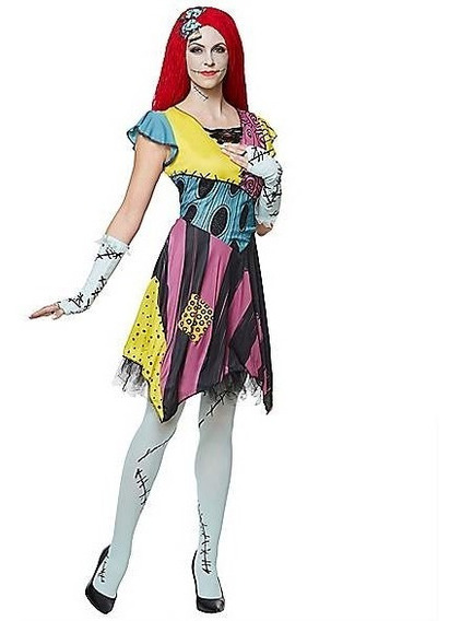 Disfraz Mujer Sassy Sally Novia Jack Vestido Con Peluca