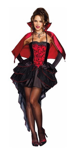 Fantasia Bruxa Roupa Vampira + Luvas Capa Halloween Vestido