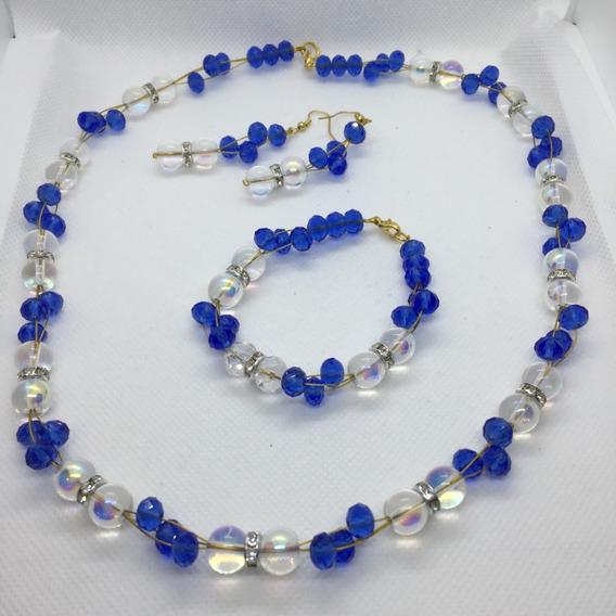 Set Collar Aretes Pulsera Cristal Azul Rey/fiusha/naranja