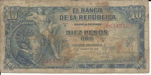 Colombia 10 Pesos Oro 2 Enero 1961