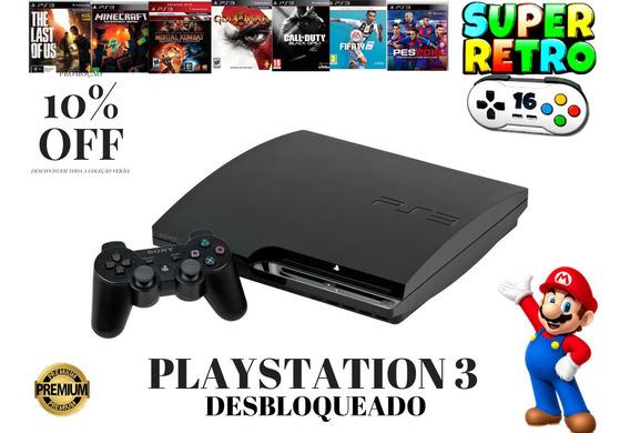 Playstation Ps3 Desbloqueado+destravado+ 10 Jogos De Brinde