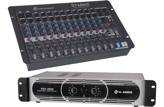 Kit Mesa Starmix 1202 + Potência Pro2600 650 Watts Rms Nca