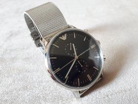 Relógio Original Empório Armani Prata Fundo Preto