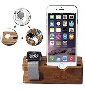 Estación De Carga Bambú Cereza Dorado P/iPhone Reloj Apple