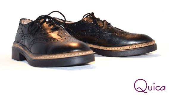 Zapatos Mujer Acordonado Cuero Picado Tendencia Quica Baires