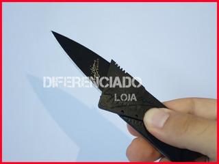 Canivete Faca Lamina Afiada Cartao Dobravel Carteira Camping