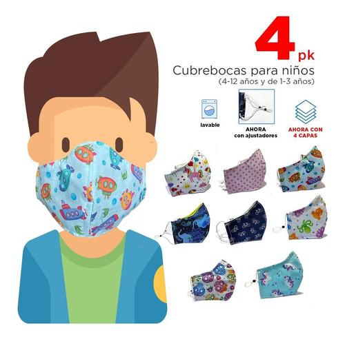 4 Cubrebocas De Tela Para Niños / Porta Filtro /3 Capas
