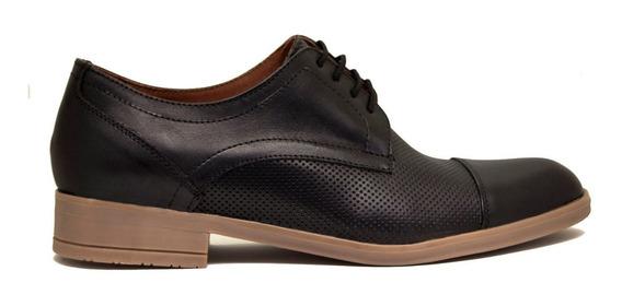 Zapatos Hombre Cuero Picado Negro