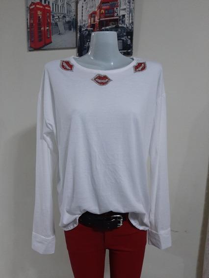 Remeron Algodon Pima Con Aplique Mangas Camisa Talle 3