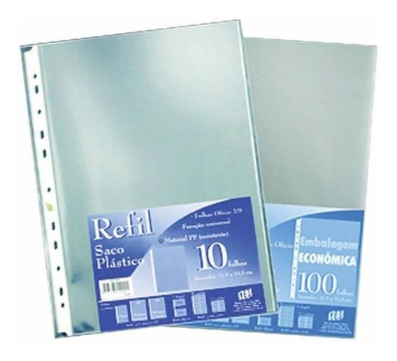 Refil Plastico Yes Oficio Furo Universal Tarja Branca 10 Un