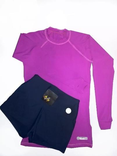 Kit Feminino Juvenil Shorts + Camiseta Proteção Solar Uv50+