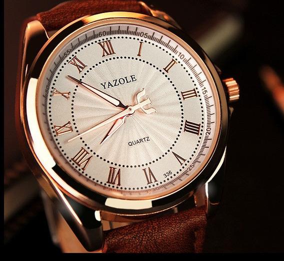 Relógio Masculino De Pulseira De Couro Dourado, Frete Gratis