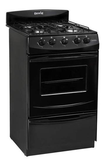 Cocina Escorial Candor 4 Hornallas Black Gas Envasado 51cm