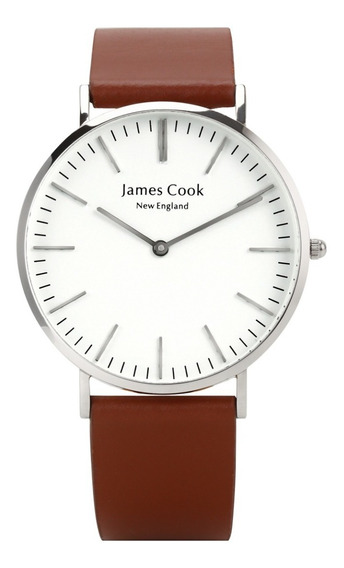 Relógio Masculino De Couro Marrom Sem Costura Prata