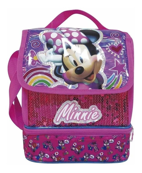 Lunchera De Minnie Mouse Metalizado Lentejuelas