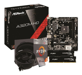 Kit Amd Ryzen R3 2200g Asrock A320m Hd 2x 4gb Fury 2400mhz