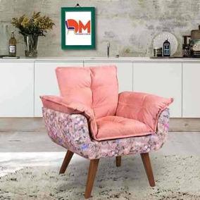 Poltrona Opalla Rosa Com Borboletas Pé Palito Dm Interiores