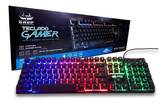 Teclado Gamer Pc Mac Led Usb Semi Mecânico Kp2043 Barato
