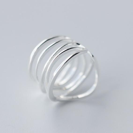 Anillo De Plata .925 Para Dama Ajustable Modelo Espiral