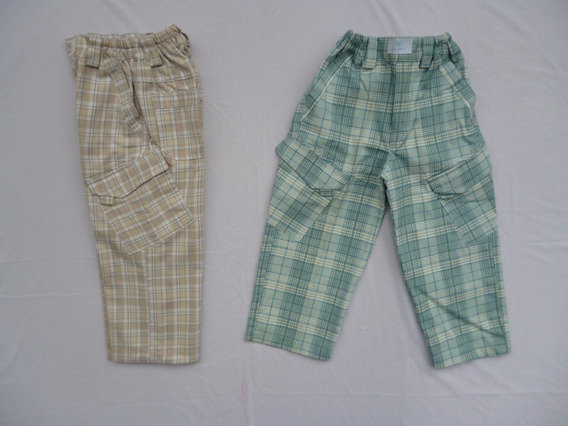 Pantalón Escocés P/ Ninõs - Talles 3 Y 4-cintura Elastizada
