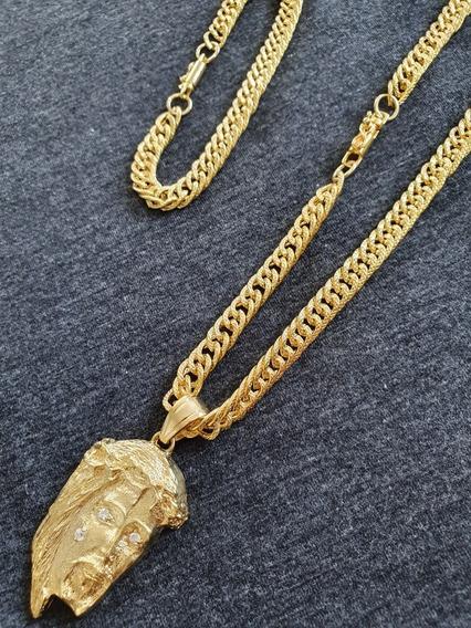 Kit Cordão + Pulseira Masculino 70cm Banho Ouro 18k Garantia