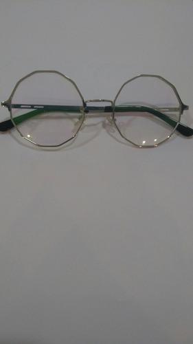 Óculos De Grau Redondo De Metal Tamanho 50