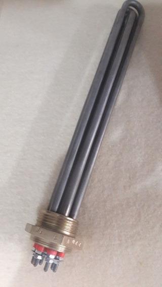 Resistencia Flange Inox 304 Rosca 1.1/2 Bsp 3u 6kw 30cm