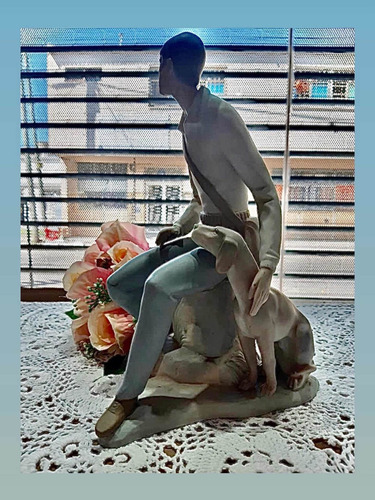 Campesino Con Su Perro Figura Porcelana  Made In Spain 28 Cm
