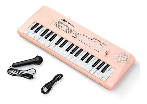 Imagem 1 de 3 de Teclado Infantil Standard 37 Teclas Usb Rosa C/ Microfone