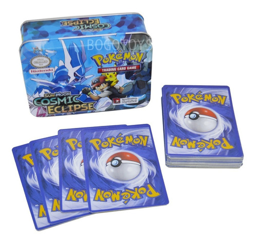 Cartas Pokemon 40 Cartas Basicas En Estuche Metalico