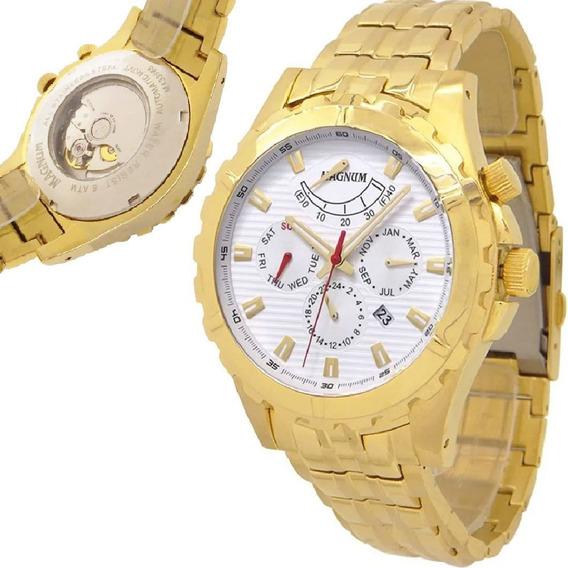 Relógio Magnum Masculino Automático Dourado Grande Com Nfe