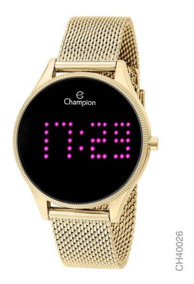 Relógio Champion Dourado Digital Led Lilás Ch40026h Novo