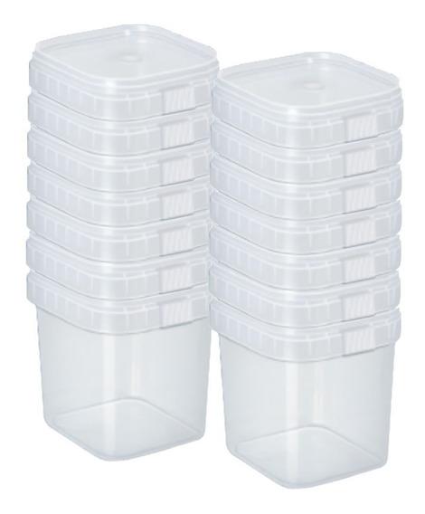 Potes Quadrados Bolo No Pote Lacre Plástico 220ml -200 Unid.