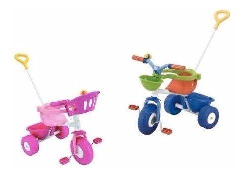 Triciclo Blue Pink Metal Rondi Con Baúl Barra Arrastre Cuota