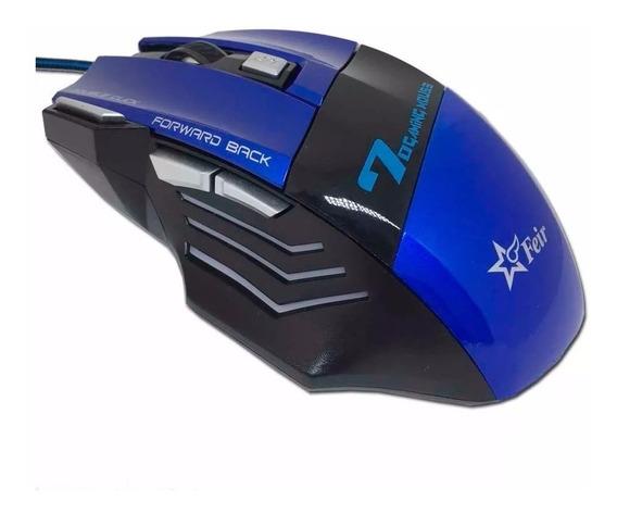 Mouse Gamer Azul Óptico 7 Botões Usb Original Feir Com Led