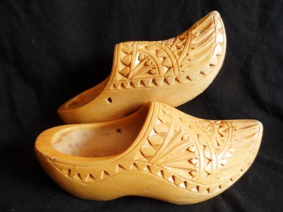 Zapatos Suecos Holandeses Usados Originales En Madera Niños