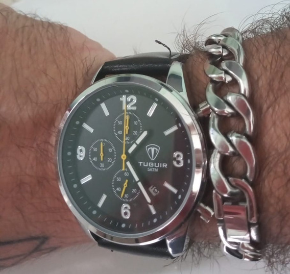 Relógio Masculino Tuguir Analógico Prata E Preto