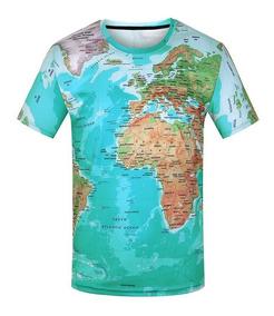 Camiseta 3d Manga Corta Estampada Mapa